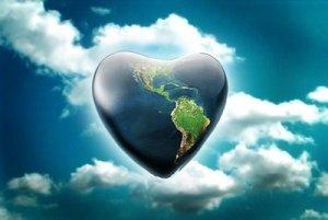 A luz e o amor irradiando do planeta